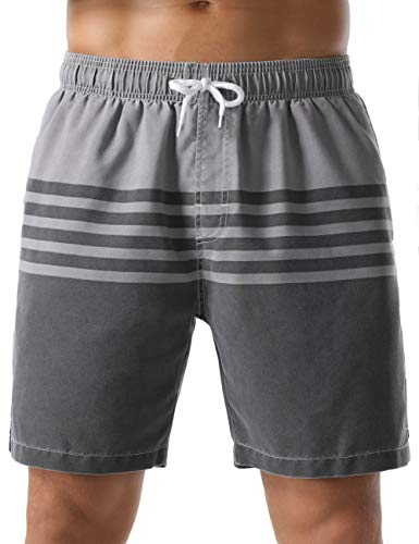 Nonwe Men's Swim Shorts Strip Casual Fit Soft Washed Board Shorts Gray 34