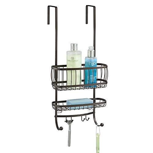 mDesign Portaoggetti per doccia da appendere con parti di montaggio incluse – Pratica mensola doccia in metallo facile da montare per riporre i vostri accessori per doccia – bronzo