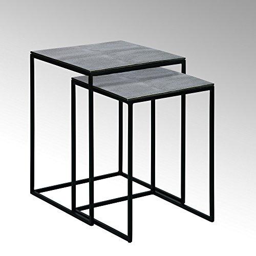 Lambert Dagny Beistelltisch 2er Satz Kroko-Optik Vern, Metall, Silber, schwarz, One Size