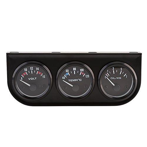 Qiilu 52 mm 3 in 1 Triple Stärken Öl Druck Meter Wassertemperatur Gauge Voltmeter für Auto Truck