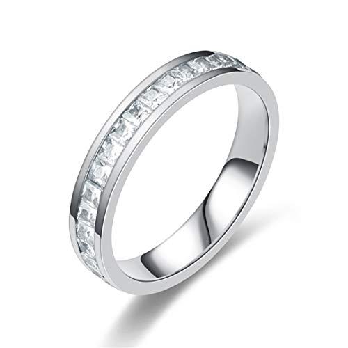 DJDLNK Romantische vierkante zirkonia damesring Classic Charm Double Row Zirkonia Men Wedding Ring Silver Finger Jewelry