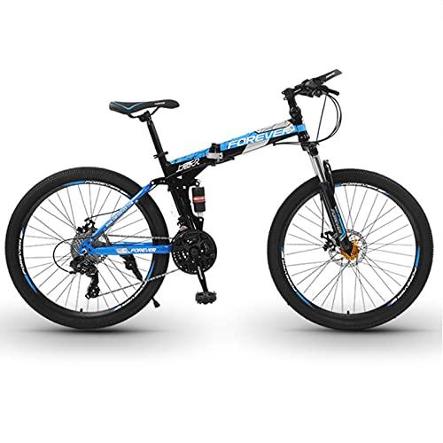 Bicicleta de montaña, Bicicleta De Montaña Plegable De 26 Pulgadas, Hombres Y Mujeres Bicicleta De Acero Al Carbono De La Bicicleta Portátil Con Bolsa Delantera De La Bicicl(Size:27 speed ,Color:Blue)
