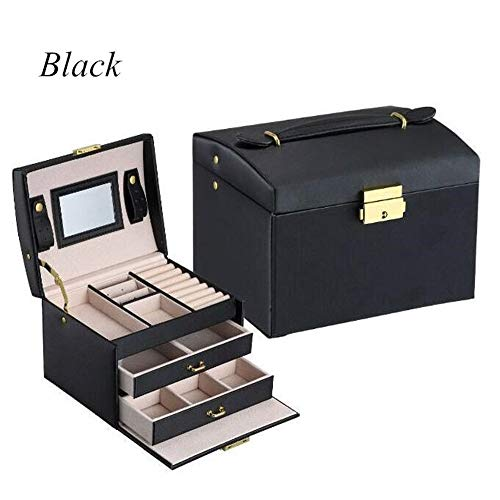 BABIFIS Joyería de la Caja, portátil de Cuero de la PU de Tres Capas Dobles cajones joyero Princesa de Almacenamiento con Bloqueo de Espejo C(Black)