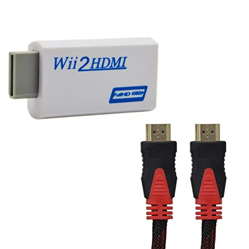 Lxyhwcb Wii to HDMI Converter Automatic Upscaler 1080P Converter Adapter for Nintendo Wii Console Wii to HDMI HD Video and Audio Output Cable- Supports All Wii Display +1.5M High Speed HDMI