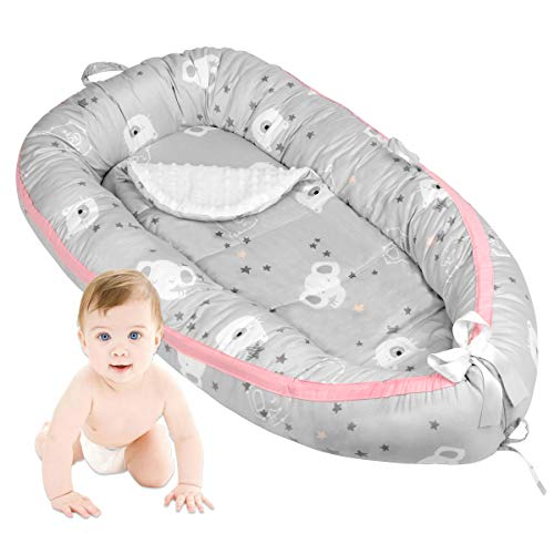 Detachable Baby Nest with Mattress, Portable Travel Toddler Bed Newborn Lounger for 0-2 Year Infant (Bear Without Pillow)