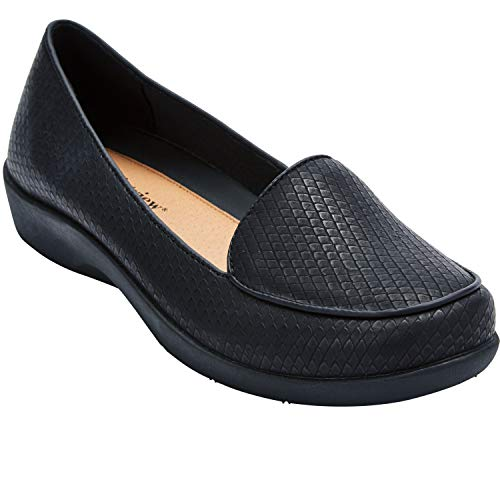 Comfortview Women's Wide Width The Jemma Flat omfortable Slip-On Loafer Shoe Shoes - 12 M, Black
