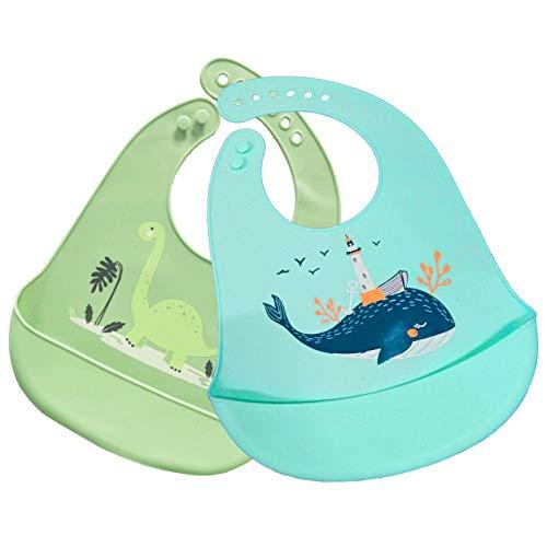 2 Stück Baby Silikon Lätzchen mit Auffangschale, Abwaschbar Baby lätzchen für Entwöhnen BPA Frei Einfache Reinigung Spülmaschinenfest