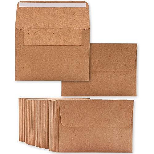 Lot de 50 enveloppes en papier kraft brun, format A4 -Pour cartes de vœux et d'invitation, de 10x15cm - Enveloppes à rabat carré -10,6x15,7cm