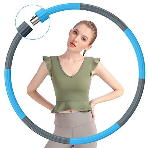 Gkodeamig Fitness Exercise Hoop, Hoop Reifen Erwachsene Weighted Exercise Hoop, Stabiler Edelstahlkern mit Premium Schaumstoff Abnehmbarer Hoop Reifen 1,2 kg für Fitness (Blue)