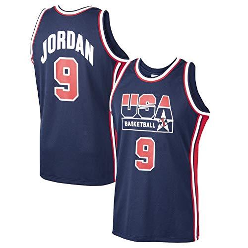 LDFN Jersey Baloncesto Michael Jordan De Estados Unidos Nº 9 Baloncesto Mitchell Y Ness Inicio 1992 Dream Team Jersey-Armada, Transpirable Bordó La Camiseta Camiseta S-XXL (Color : Blue, Size : XXL)