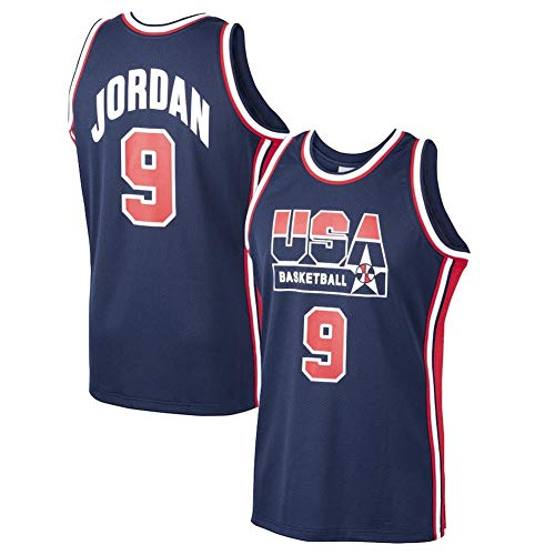 LDFN Basketballtrikot Michael Jordan No. 9 US-Basketball-Mitchell & Ness Startseite 1992 Dream-Team Jersey-Navy, Breathable Gesticktes Sweatshirt T-Shirt S-XXL (Color : Blue, Size : L)