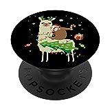 Divertido regalo de alpaca de renos en una llama PopSockets PopGrip Intercambiable