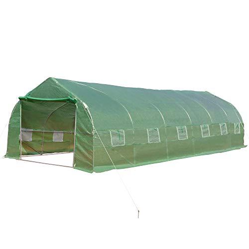 Outsunny Invernadero de Jardín 800x300x200 cm Tipo Túnel para Cultivo de Plantas y Verduras con 12 Ventanas y Puerta Enrollable Acero y PE Verde