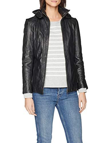 Urban Leather Damen Lederjacke mit Kapuze Sk1, Schwarz (Black), L