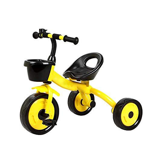 HYDDG Triciclos 3 Ruedas Bicicleta Niño Triciclo Bicicleta Bebé Juguete niño Carro 2-6 años Antiguo Joven Color Naranja,Amarillo