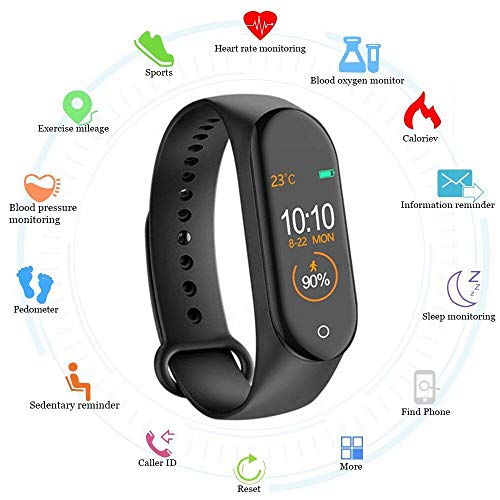 SClout Smart Band SM4 Fitness Tracker Watch with Activity Tracker Waterproof Body Functions Like Steps Counter, Calorie Counter, Blood Pressure, Heart Rate Monitor LED Touchscreen (Black) (M4)