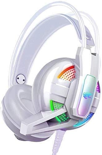 Zixin Casque, PS4 Gaming Casque avec 7.1 canaux Mic Lumière, Design Ergonomique Plus de Ear Headphones for Playstation 4, PC Portable Etc, Couleur: Noir (Couleur: Blanc) (Color : White)
