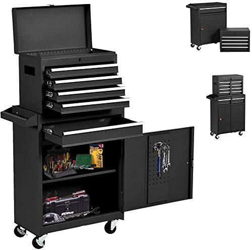 5-Drawer Big Rolling Tool Chest, Big Tool Cabinet with Drawers and Wheels Tool Cabinet Tool Storage with Lockable Drawers, Tool Chest for Workshop Machinery Garage (Cool Black)