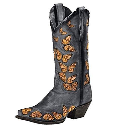 Stivali Western Stivaletti Stivali Scarpe Donna Moda Casual Tacchi Quadrati Tacchi Lunghi alla Caviglia (37,Grigio)