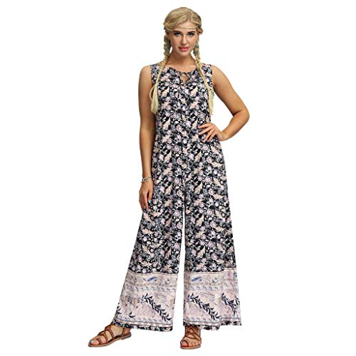 Lazzboy Frauen Beiläufige Lose Yoga Hosen Baggy Boho Aladdin Jumpsuit Pants Damen Haremshose Aladinhose In Verschiedenen Designs Pumphose Pluderhose Hose(Beige,L)