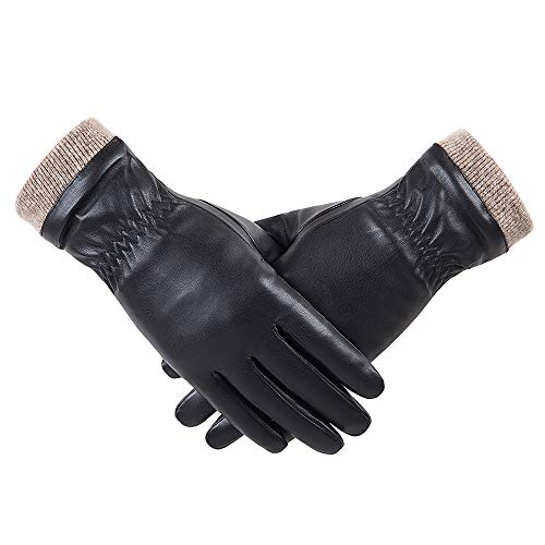 Winter Leather Gloves for Women, Wool Fleece Lined Warm Gloves, Touchscreen Texting Thick Thermal Snow Driving Gloves by REDESS(80XL)