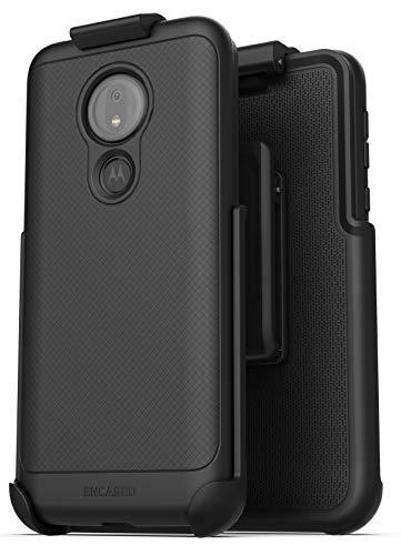 Encased Moto G7 Power Belt Clip Case (Thin Armor) Slim Grip Cover with Holster for Motorola G7 Power- Black