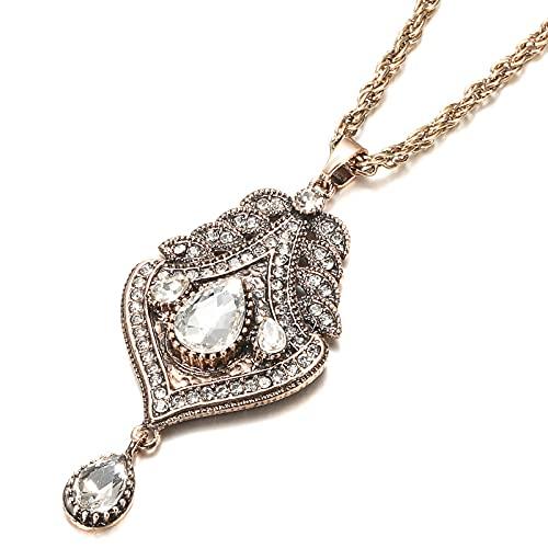 SWAOOS Collar con Colgante de Oro Antiguo para Mujer de Marruecos, Collar étnico de Cadena Larga con tótem de la Suerte de Metal Hueco, joyería de Hip Hop para Boda