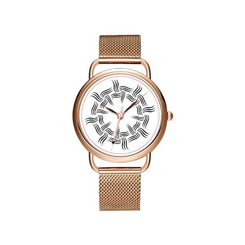 Frauen Uhren Marke Damen Mesh Gürtel ultradünne Uhr wasserdichte Uhr Quarzuhr Weihnachten Circular Piano Tasten mit Noten Zentrum Uhr