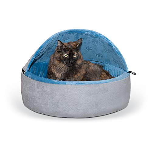 K&H Pet Products Self-Warming Kitty Bed Hooded Pet Bed for...