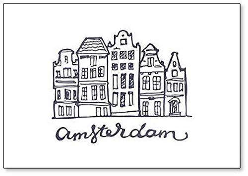 Amsterdam Skyline handgetekende illustratie - koelkastmagneet