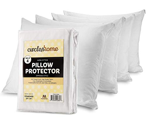 CIRCLESHOME Mastertex Pillow Protectors 4 Pack Standard Zippered   100% Cotton Breathable Pillow Covers   Protects from Dirt Dust amp Allergens   Hypoallergenic amp Quiet Standard  Set of 420x26