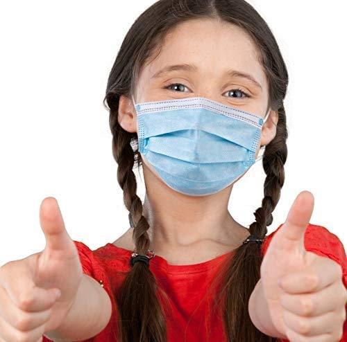 50 Stück Einweg-Gesichtsmasken für Kinder (9,5 x 14 cm)   Nasen- und Mundabdeckungen mit 3-lagigem Sicherheitsschild, elastischen Ohrschlaufen & bequemem Universal-Design