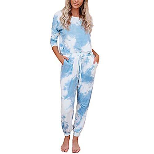 Best Deals! Toimothcn 2Pcs Outfits Loungewear Women Tie-Dye Sweatsuit Set Long Sleeve Top Drawstring...