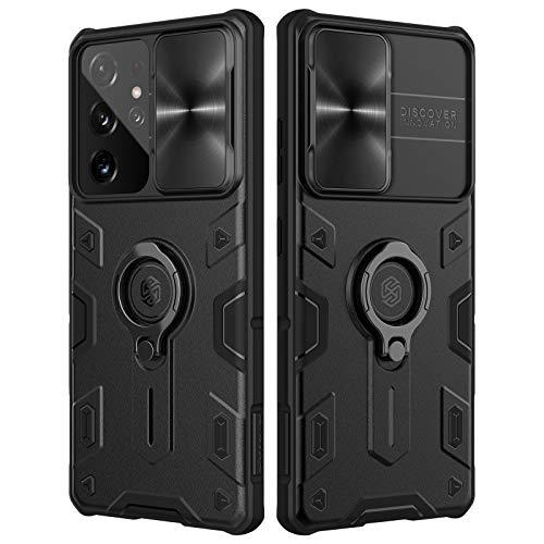 Nillkin CamShield Armor Hülle für Samsung Galaxy S21 Ultra Hülle mit Schiebekameraabdeckung, PC & TPU Silikon Cover stoßfeste Stoßstangen Schutzhülle mit Ringständer für S21 Ultra (Schwarz)