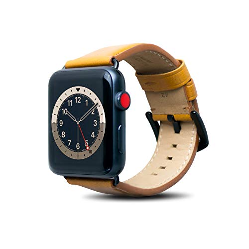 Alto Leather Band Compatible with Apple Watch Band 44mm 42mm, Classic Handmade Premium Italian Aniline Full Grain Leather Replacement Strap for Men Women iWatch Series 6 SE 5 4 3 2 1 (Caramel Brown)