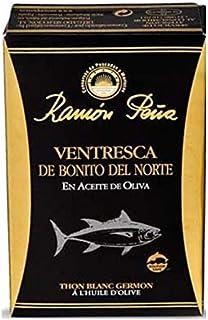 Conservas de Pescados y Mariscos Ramón Peña Ventresca de Bonito del Norte en Aceite de Oliva / Atún Blanco con Aceite de Oliva Artesanales Artesanales en Conserva - 1 x 112 Gramos (Peso escurrido 1 x 82 Gramos)