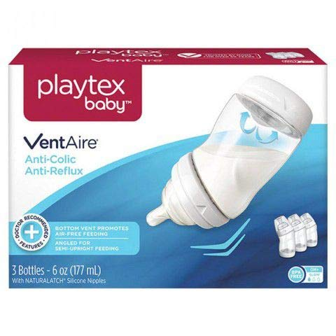 Playtex VentAire Advanced Natural Feeding System Bottles, Slow Flow, Wide/6oz, 3 ea