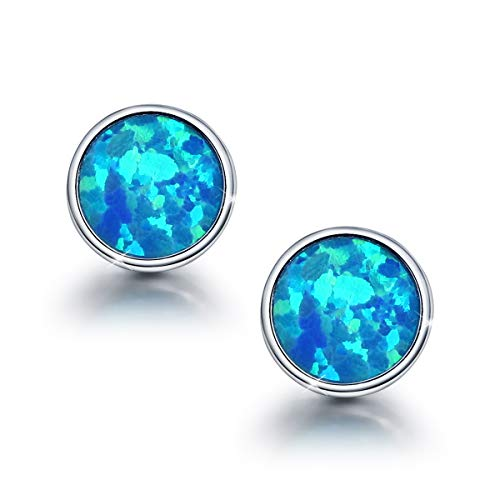 Opal Small Round Stud Earrings for Women, 925 Sterling Silver Blue Fashion Gift Jewlery With Box Hypoallergenic Earrings Ladies Girls daughter Gifts on Birthday Valentine's Day