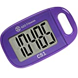 CS1 Easy Pedometer for Walking | Clip on Step Counter | Large Display + Lanyard (Purple)