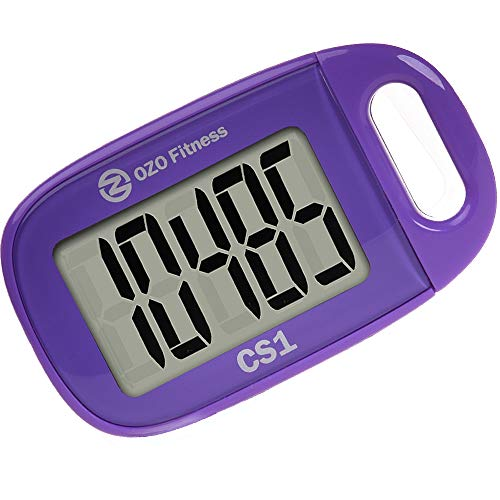 CS1 Easy Pedometer for Walking   Step Counter with Large Display and Lanyard (Purple)