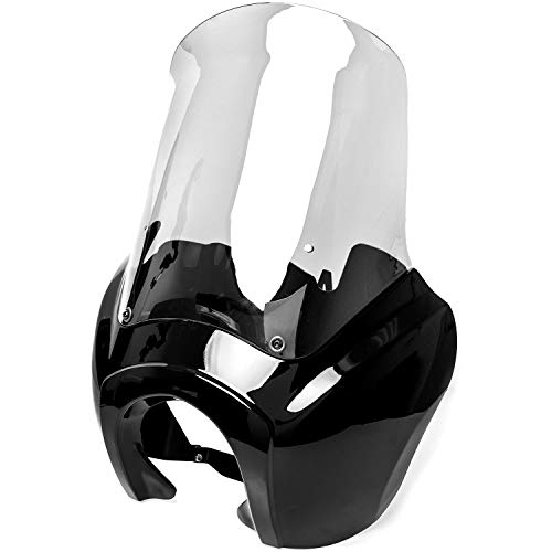 Krator Black & Clear Tall Fairing Windshield Club Style Kit Compatible with Harley-Davidson Dyna, Super Glide T-Sport FXDXT, FXR