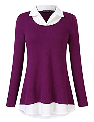 GloryStar Women's Long Sleeve Contrast Collared Shirts Patchwork Work Blouse Tunics Tops