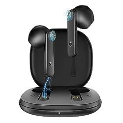 Compact: Des écouteurs wireless compacts qui s'adaptent à vos oreilles et ergonomique, et vous apporte une écoute parfaite.Même s'il est utilisé pendant une longue période, il ne fera pas mal aux oreilles. Bluetooth Version 5.1: Nos plus récents casq...