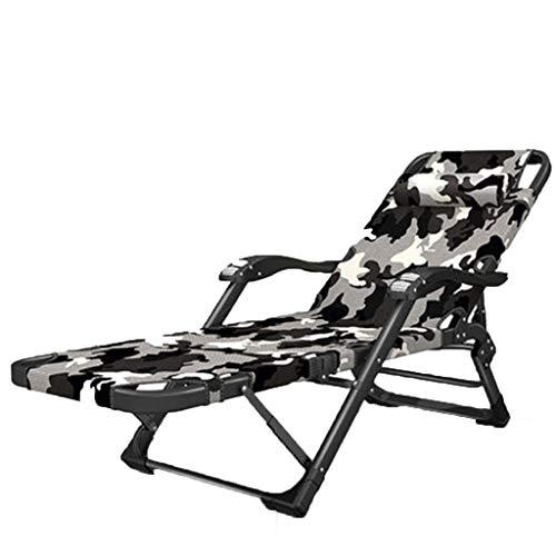 Accueil inclinable bureau déjeuner pause sieste lit dossier adulte balcon multifonctions heureux chaise pliante portable (Couleur : Fashion camouflage, taille : B)