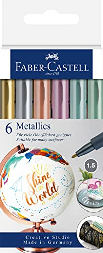 Faber-Castell 160706 - Metallics Marker mit Faserspitze, 1,5 mm Strichstärke, für viele Oberflächen geeignet, mit Metalliceffekt in gold, silber, bronze, lila, blau und grün, 6er Set