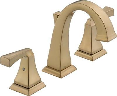 Delta Faucet Dryden Widespread Bathroom Faucet 3 Hole, Gold Bathroom Faucet, Bathroom Sink Faucet, Metal Drain Assembly, Champagne Bronze 3551LF-CZ