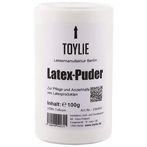 Toylie Latex-Puder 100g, zur Latexpflege, Anziehhilfe für Latexkleidung, 100% Talkum-Puder ohne...