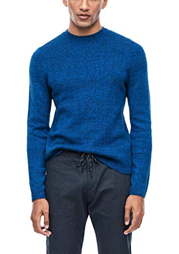 Q/S designed by - s.Oliver Herren 40.912.61.2777 Pullover, Blau (Dazzling Blue Knit 55x0), Large (Herstellergröße: L)