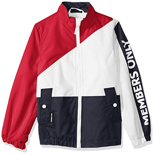 Members Only Boys' Little Lightweight Nautical Colorblock Jacket, RED, 5