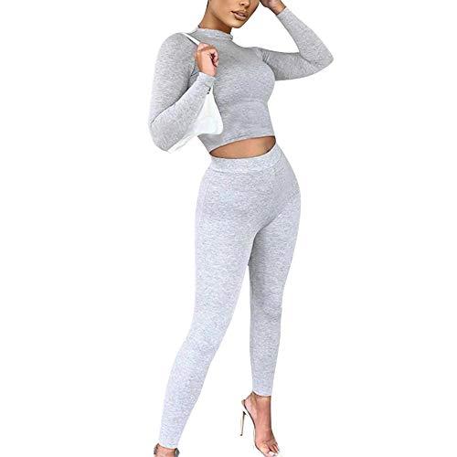 Yying Tuta Sportiva da Donna Collant Tuta Sportiva Abbigliamento Sportivo Tuta da Allenamento a Due Pezzi Manica Lunga